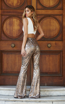 Snakeskin Sequin Kick Flare Trousers by Club L London