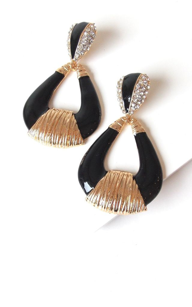 Black and Gold Enamel Earrings by Olivia Divine Jewellery