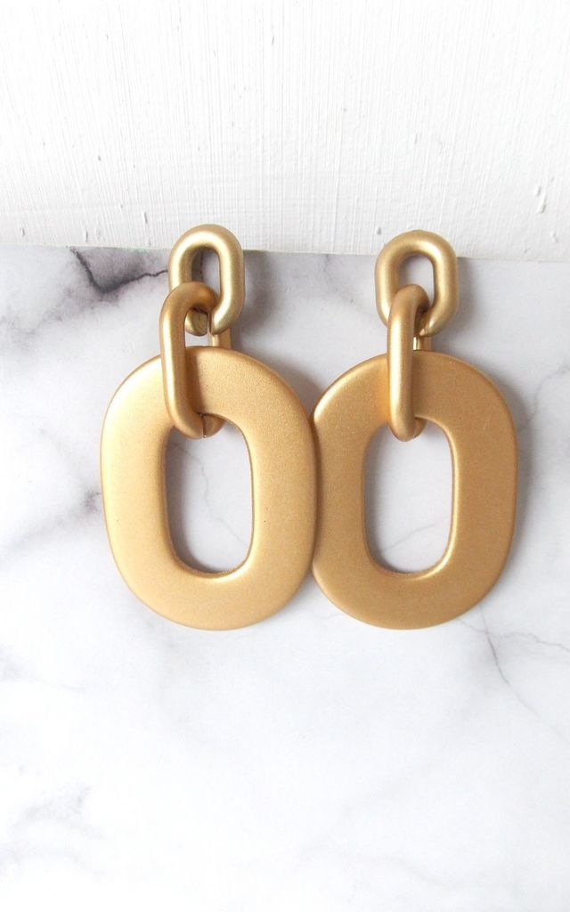 Gold Oval Chain Link Earrings by Olivia Divine Jewellery