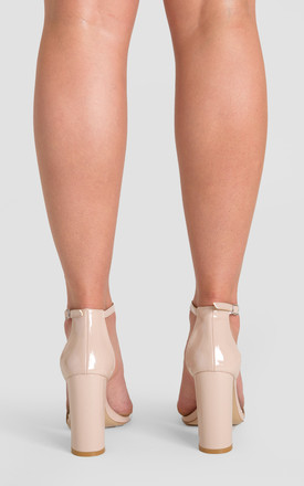 Isla Single Strap Block Heel in Nude Patent Faux Leather by Poised London
