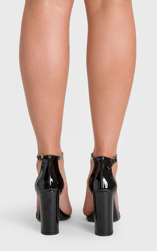 Isla Single Strap Block Heel in Black Patent Faux Leather by Poised London