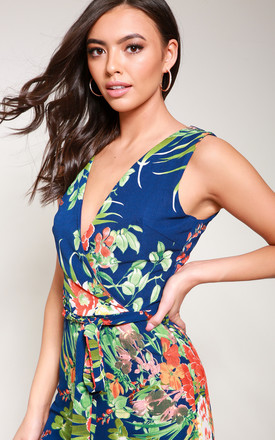 Tropical Print Wrap Front Jumpsuit by Reckless Doll