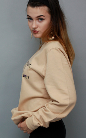 Sweatshirt in Nude with Equality Slogan Jumper by Save The People