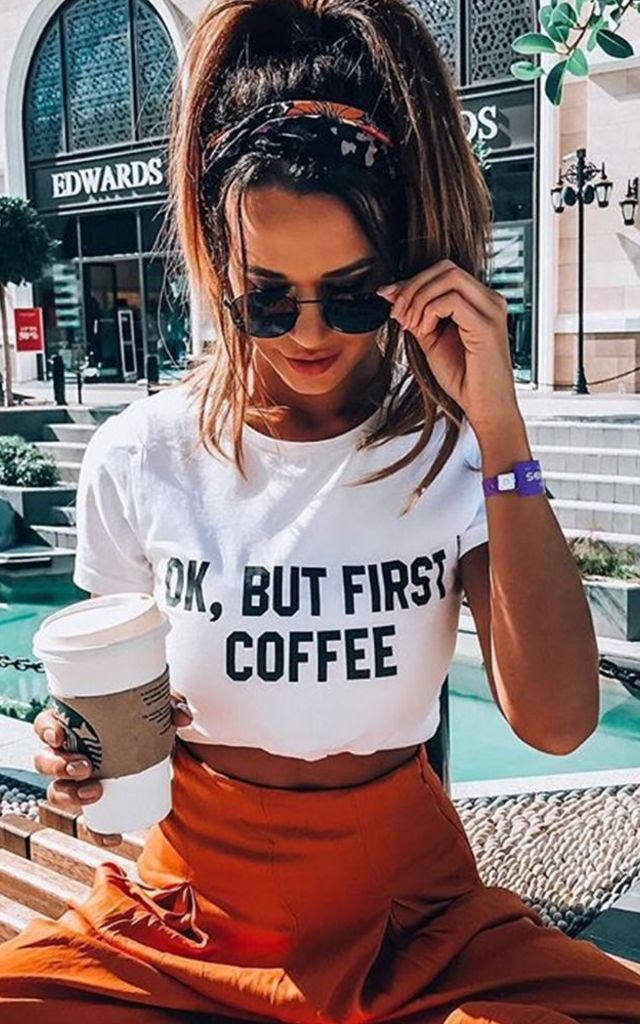 T Shirt in White with Coffee Slogan by Save The People