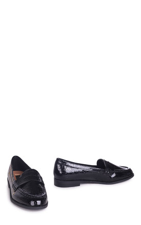 Latasha Black Faux Croc Leather Classic Slip On Loafer by Linzi
