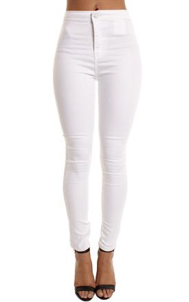 White High Waisted Trousers Slim Skinny Jeggings by Portobello Punk