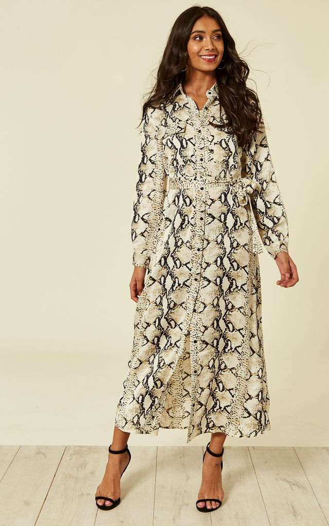 Ora Long Sleeve Shirt Dress in Navy / Beige Snakeskin by Foreva Young