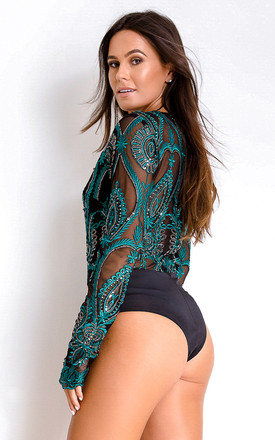 Paige V Neck Sequin Bodysuit Emerald by Girl In Mind