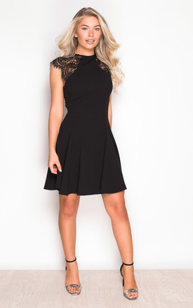 Molly Lace Detail Skater Mini Dress Black by Girl In Mind Product photo