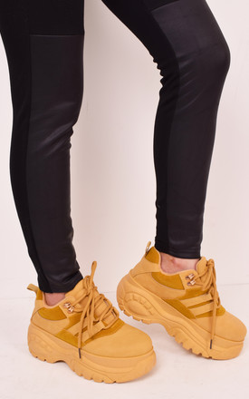 Ladies yellow mustard chunky platform trainers lace up fashion by Solewish