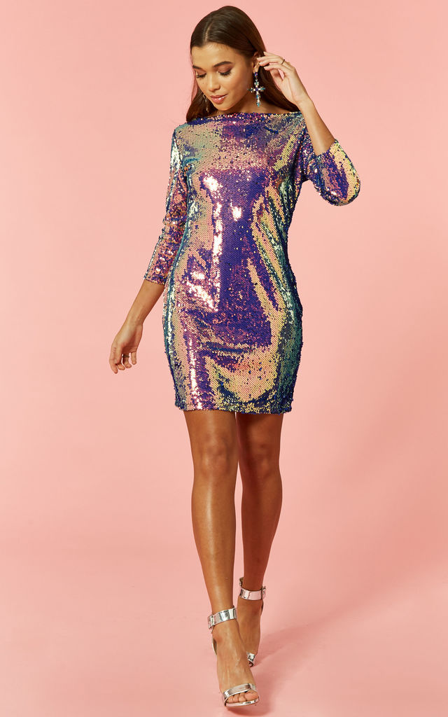 699986ee6ced Purple Iridescent Sequin Dress | Glamorous | SilkFred