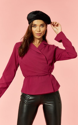 Magenta Long Sleeve Wrap Top by Glamorous Product photo