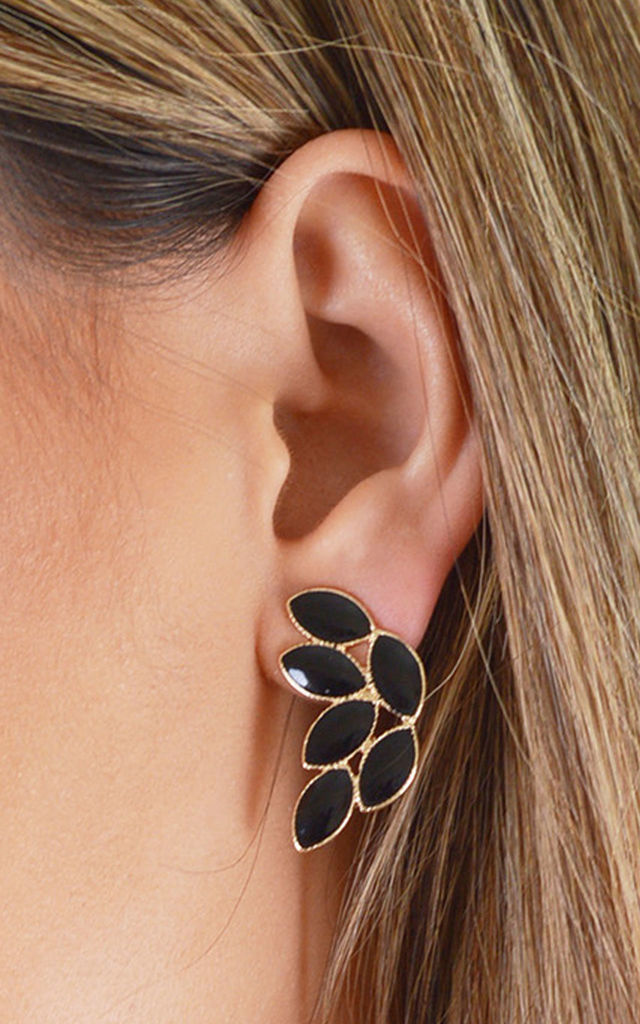 Black And Gold Leaf Detail Studded Earrings by LOVEMYSTYLE