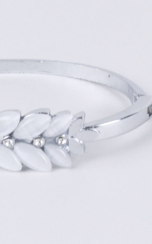 Silver Metal Bracelet With White Stone Embellishment by LOVEMYSTYLE