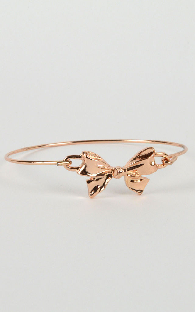 Delicate Gold Bangle With Bow Clasp by LOVEMYSTYLE