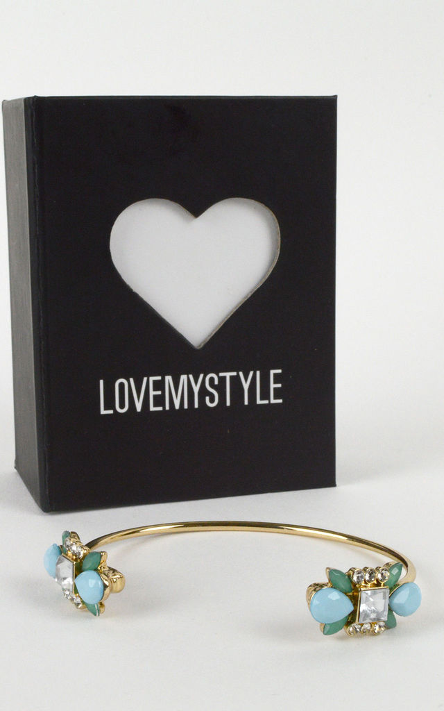 Gold Bangle With Mint Blue, Green And Clear Stones by LOVEMYSTYLE