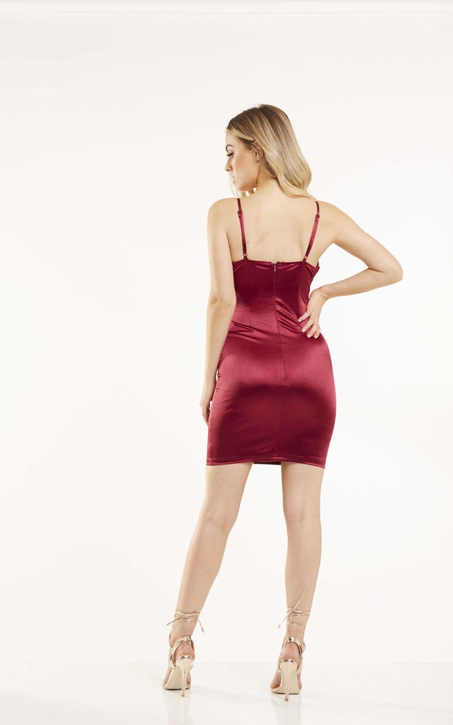 Wine Satin Bodycon Dress by Candypants