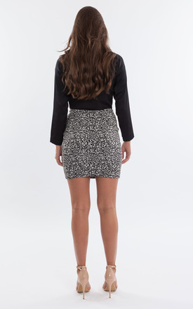 Snow Leopard Print Mini Skirt by Mint Alice London