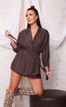 KENNEDY OVERSIZED SHIRT AND SHORTS SET CHOCOLATE by Cheeky's