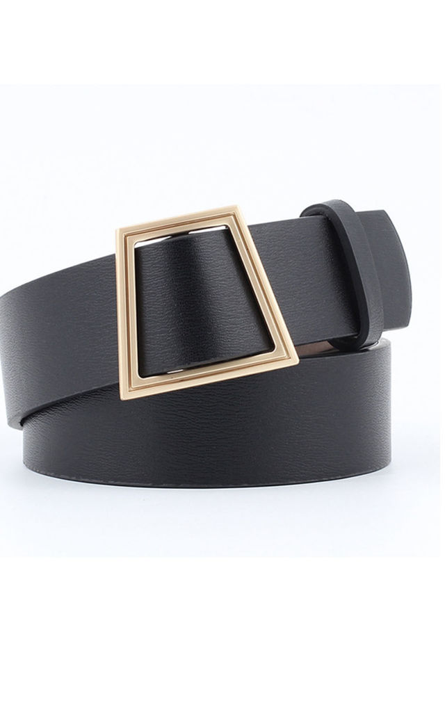 Violetta Faux Leather Black and Gold Belt by Ajouter Store