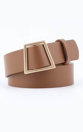 Violetta Tan Faux Leather Black And Gold Belt by Ajouter Store Product photo