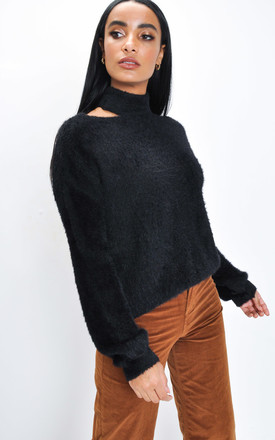 Fluffy Cut Out Neck Knit Jumper Black by LILY LULU FASHION