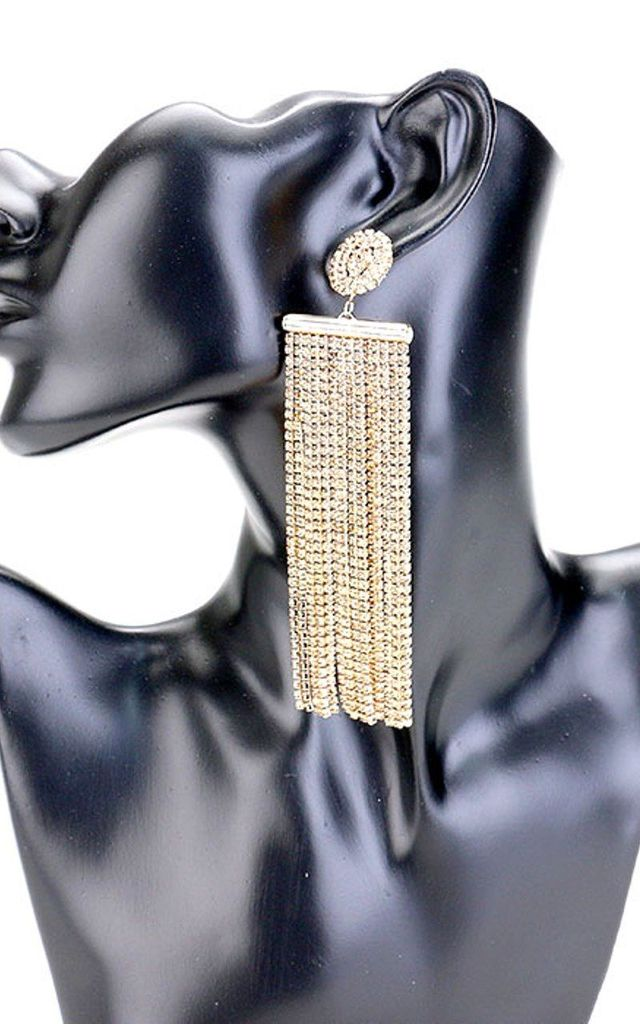 Over-Sized Gold Crystal Tassel Fringed Statement Earrings by Olivia Divine Jewellery