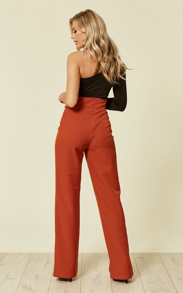 Rust High Wasited Trouser With Lace Up Detailing by UNIQUE21