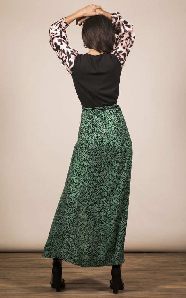 JAGGER DRESS IN SMALL GREEN LEOPARD MIX PRINT image