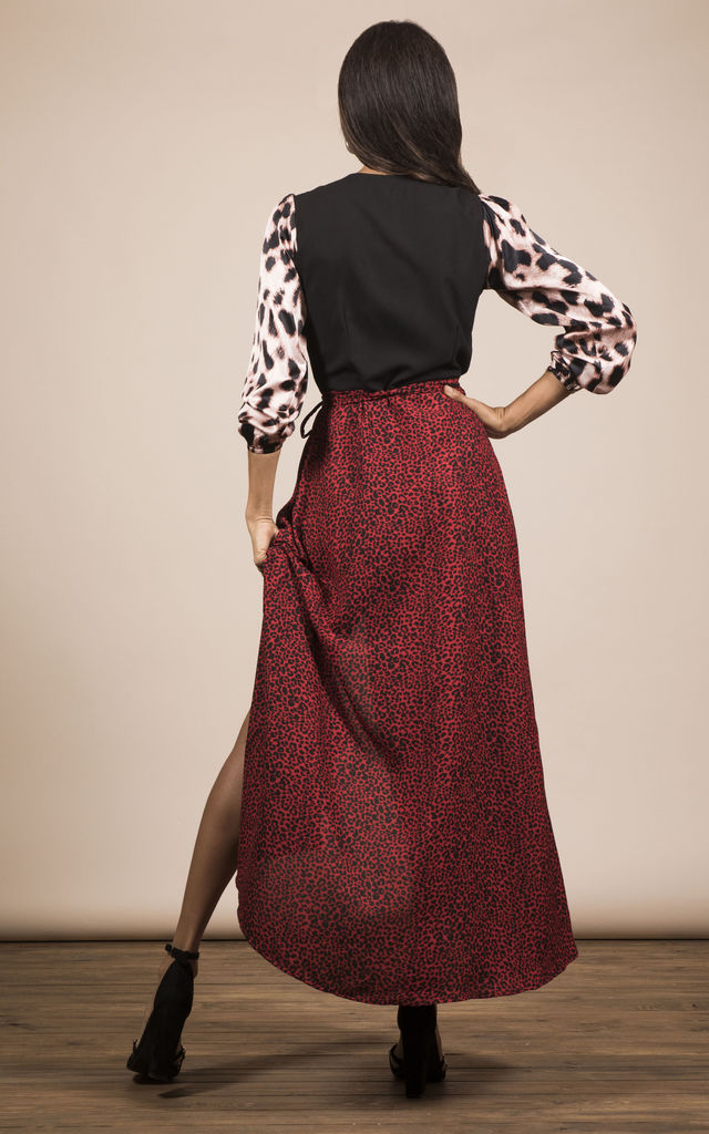 JAGGER DRESS IN SMALL RED LEOPARD MIX PRINT image