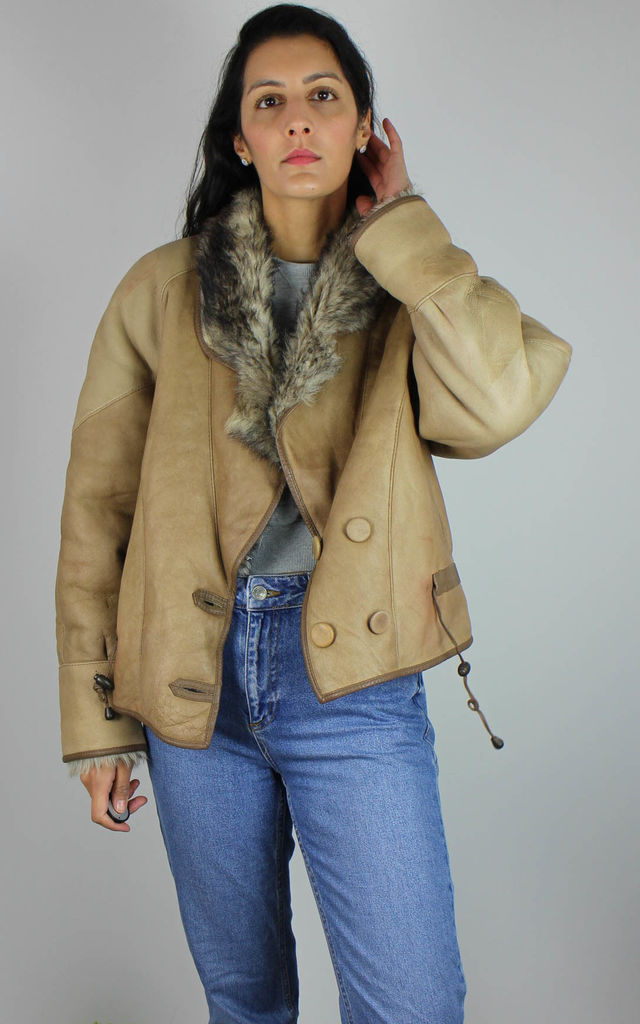 Vintage Real Leather Jacket with Faux Fur Lining by Re:dream Vintage