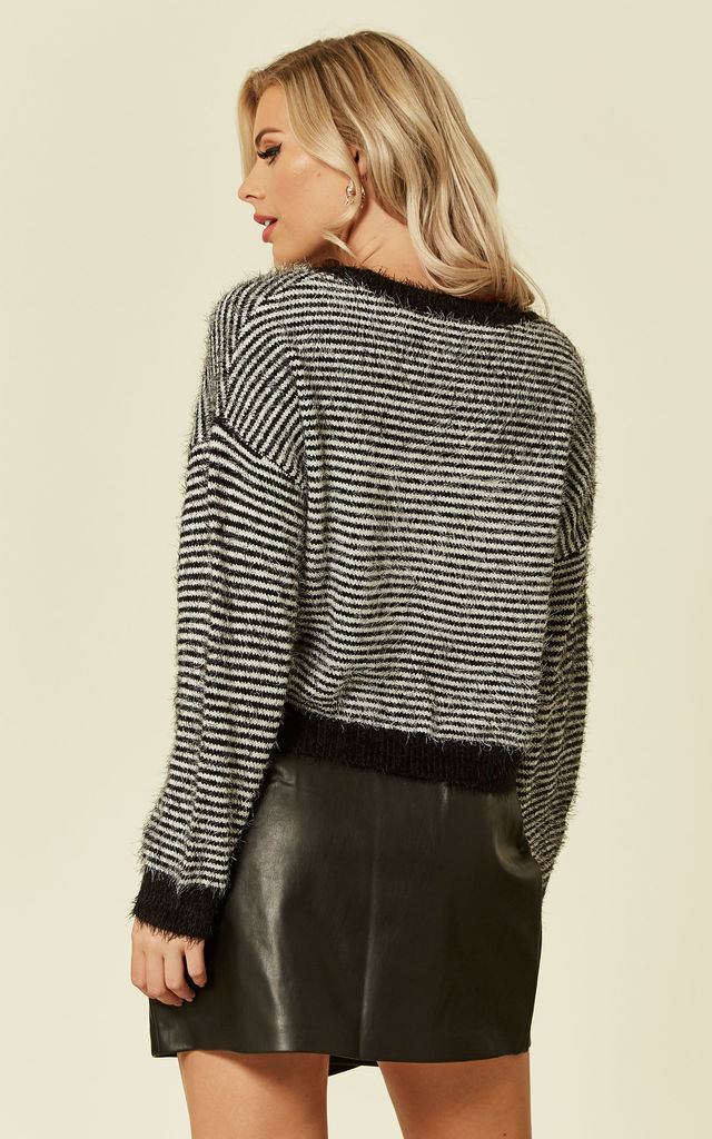 KNITTED JUMPER IN FLUFFLY STRIPE by Wednesday's Girl
