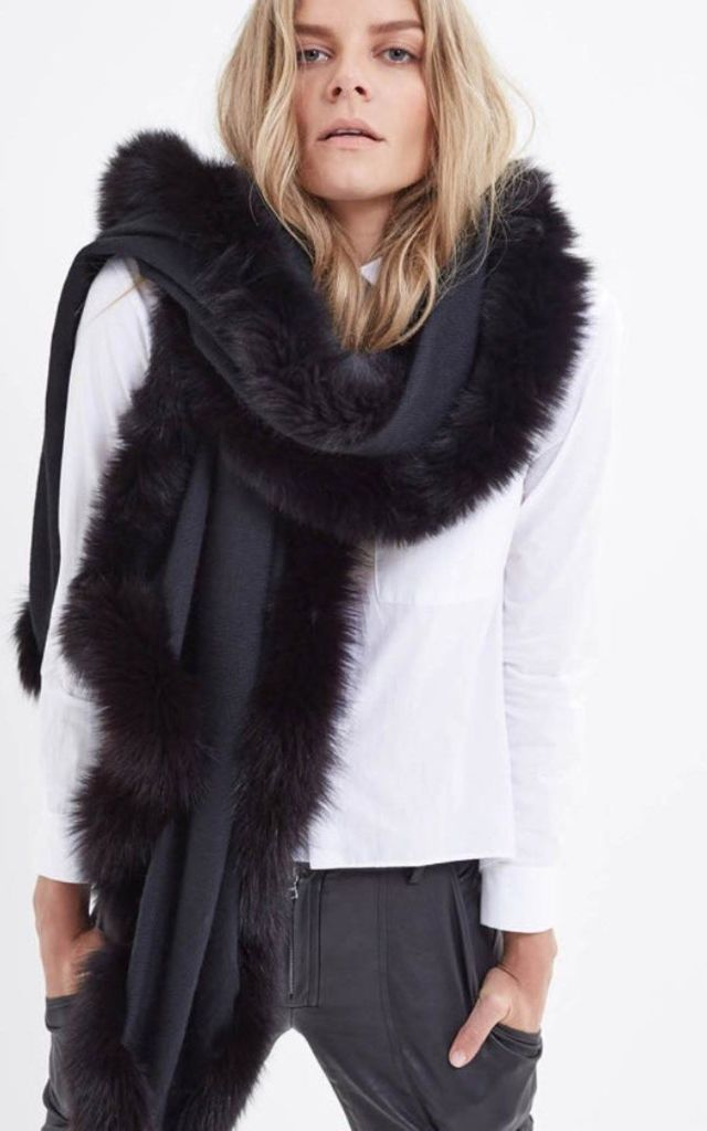Fur Trim Cashmere Pashmina Wrap Black by Spiritual Hippie