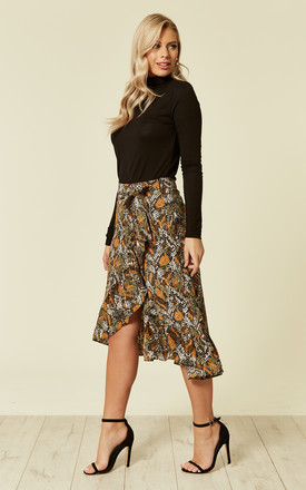 Khaki Snake Print Frill Wrap Skirt by MISSI LONDON