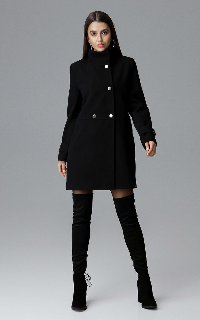 Black Coat With Stand-Up Collar by FIGL