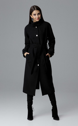 Black Long Raglan Coat by FIGL