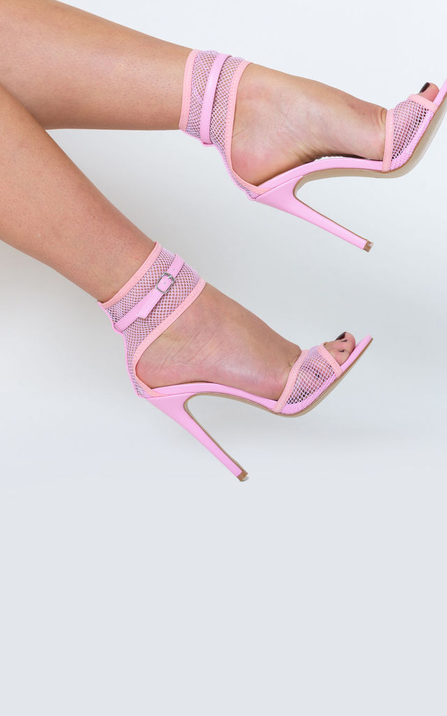 Rita Fishnet Stiletto Heel in Pink Faux Leather by Poised London