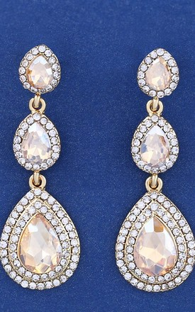Champagne and Crystal Three Tier Teardrop Earrings by Olivia Divine Jewellery