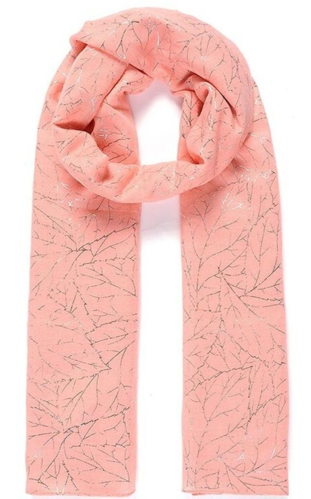 Metallic Leaf Vein Print Coral Scarf by Ruby Rocks Boutique