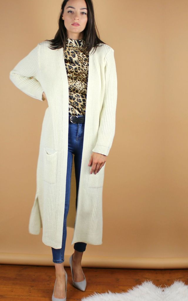 Cream Long Knit Cardigan by HAUS OF DECK
