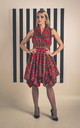 Sleeveless Trench Dress in Bright Red Tartan by Blonde And Wise