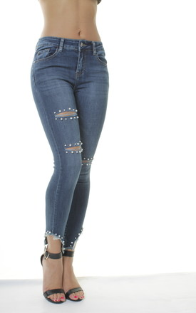 Skinny Mid Waisted Cut Out Pearl Embellished Blue Jeans Jeggings by Portobello Punk