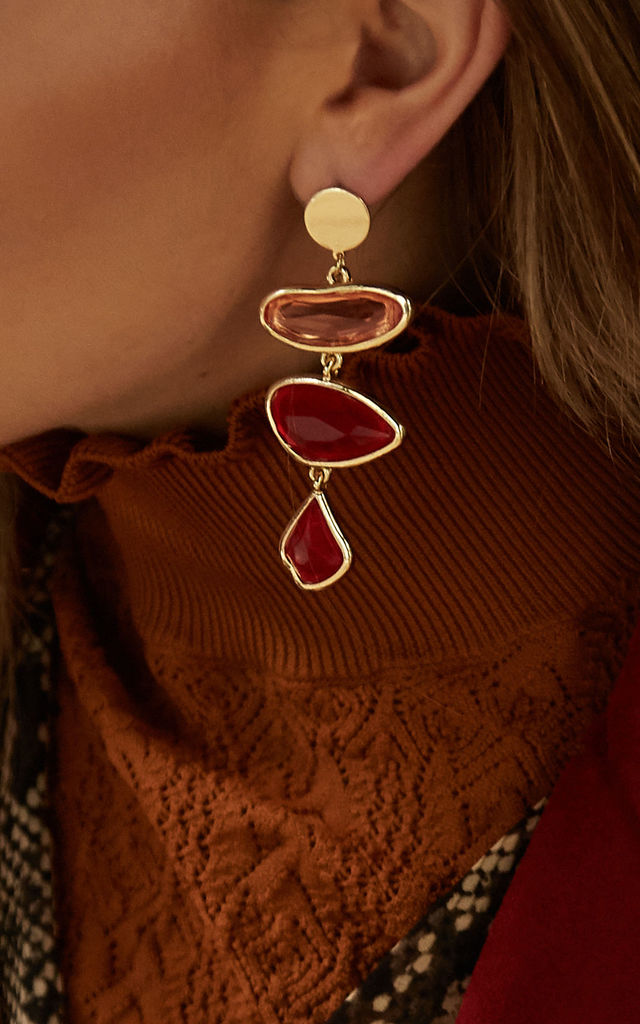 MARIN Earrings In Gold and Red Resin Crystal by THE SF STORE