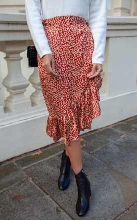 Rust Leopard Frill Wrap Midi Skirt by Styled In London Product photo