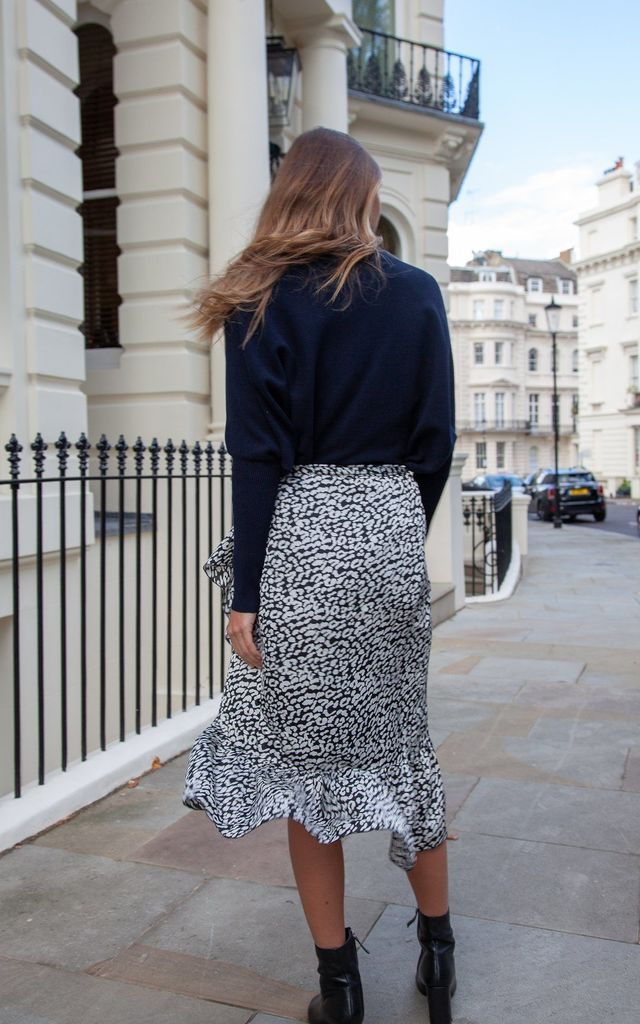 Black Leopard Frill Wrap Midi Skirt by Styled In London