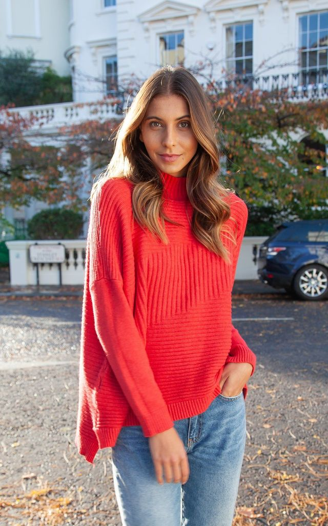 Coral Red Soft High Neck Ribbed Jumper by Styled In London