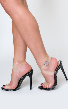 Tiffany Studded Perspex Heel in Black Faux Suede by Poised London