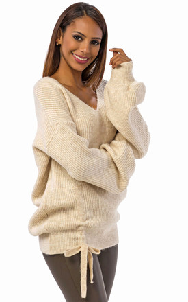 Maxi Sleeve Jumper Off White by Zibi London