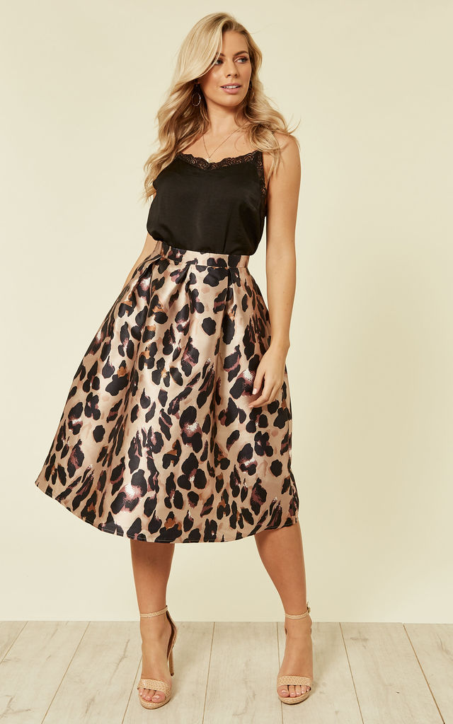 Leopard Print A-Line Midi Skirt by Oeuvre
