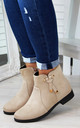 Beige Knot Ankle Boots by Larena Fashion